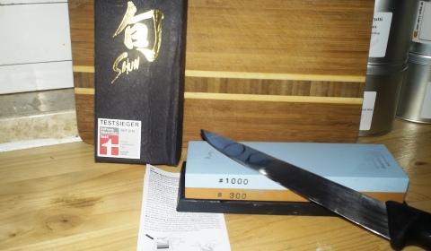 Messer schärfen mit japanischem Schleifstein